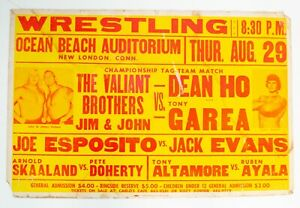 Vintage 1974 WWWF Wrestling Event Poster The Valiant Brothers Dean Ho Skaaland