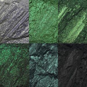 6 pc Green Black Intense Loose Pigment Eyeshadow Set Palette Glitter Fine NEW