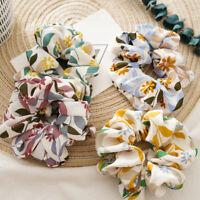 Girls Fashion Floral Hair Ring Scrunchie Simple Ponytail Soft Elastic Hair Tie