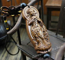 Wood Carving Chinese Freedom Dancing Kwan Yin Statue Car Pendant Wooden Amulet