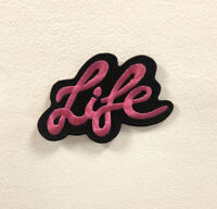 Life Art Pink Badge Clothes Iron on Sew on Embroidered Patch appliqué