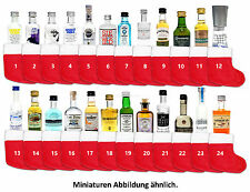 Mini Spirituosen Adventskalender - 24 Sorten Gin / Vokda / Whiskey + 24 Socken