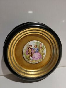 Fragonard Vtg Porcelain Limoges Style Courting Couple Dark Frame Lt. Gold Velvet