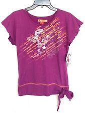 NWT APPLE BOTTOMS Girls Logo Shirt Top Ruffle Sleeves Side Tie Bow Purple Large