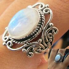 Vintage Women Fashion 925 Silver 4.8Ct White Opal Wedding Party Ring Size 6-10