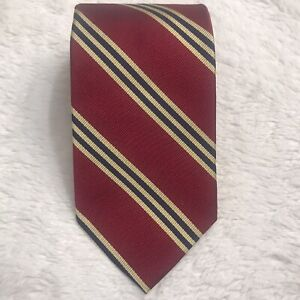 Recent BROOKS BROTHERS TIE Red Gold Navy BB # 1 Repp Stripes 100% Silk 3.25x60