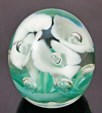 Vintage Glass Paperweight With Three (3) Trumpet Flowers