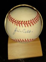 JIM COBB AUTO SIGNED TY COBB SON BASEBALL WITH STAND