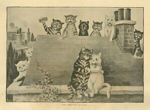 LOUIS WAIN CATS IN LOVE SITTING ON THE HOUSE ROOFTOP BEING WATCHED BY OTHER CATS