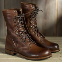 Mens Motorcycle rock leather Buckle Desert Combat Military Mid Calf army Boots
