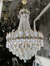 """Antique French Gigantic Bohemia Crystal Chandelier Ceiling Lamp 1940's 16"""" Dmtr."""