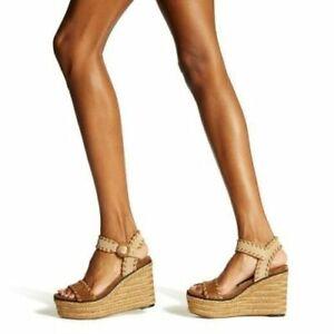 NIB Jimmy Choo Abigail 100 Whipstitch Wedge Sandals Espadrille 36.5 US 6.5