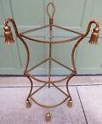 Iron Italian Tassel Rope Hollywood Regency 3 Tier Corner Glass Top Table / Shelf