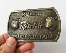 Vintage 1977 Ritchie Livestock Fountains Waters 'Em Right Metal Belt Buckle