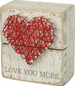 """Primitives by Kathy 34248 Rustic White String Art Box Sign, 3.5"""" x 4"""", Love You"""