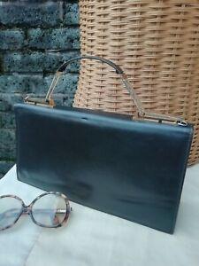 "Vintage Original 60s Lge Brown Genuine Leather Grab Clutch Bag. 12""  Superb..."