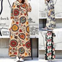Women Long Sleeve Cotton Linen Floral Printed Button Kaftan Maxi Dress Plus Size