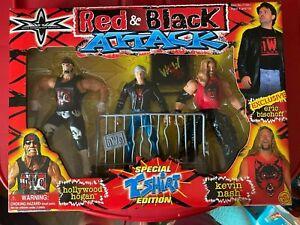 WCW Red & Black Attack Vintage 1999 Hogan, Bischoff, & Nash NIB NWO WWF Toybiz