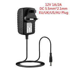 AC/DC cargador adaptador 12V 1A 2A fuente de alimentación para tira de LED CCTV 3528 5050 5630