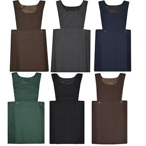 Girls Kids School Pleated Plain Bib Pinafore Dress Uniform Age 2-18 Black Grey