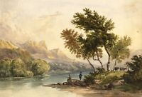 Anglers on Derwentwater, Lake District – Mid-19th-century watercolour painting