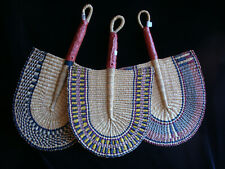 """African Handwoven Elephant Grass Fan with Leather Handle 17"""""""