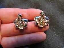 Vintage WEISS earrings, signed a/b rhinestone Clusters! Exceptional! Gold tone.