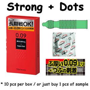Sagami 0.09 Condom Thick Strong Long Lasting Enhance Pleasure Dots Green Japan