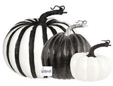 3 Halloween Black White Gothic Party Pumpkin Glitter Event Table Prop Decoration