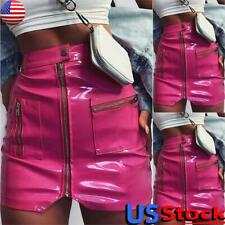 Women's High Waisted Leather Pencil Mini Skirt Ladies Zipper Short Bodycon Dress