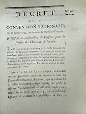 616 LOI DECRET CONVENTION NATIONALE 1793 SERVICE DES HÔPITAUX DE L'ARMÉE CAISSON