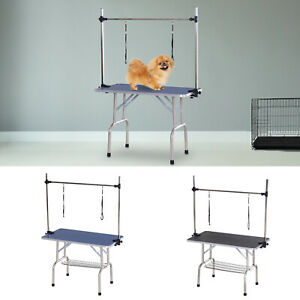 Metal Adjustable Dog Grooming Table Rubber Top 2 Safety Slings Mesh Basket