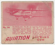 1940s DE HAVILLAND EXPRESS DH 86 British UK AVIATION CHEWING GUM Card MILITARY