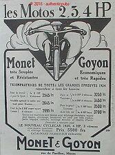 PUBLICITE MONET & GOYON MOTO 2 3 4 HP SIDE CAR CYCLECAR MOTARD DE 1925 FRENCH AD