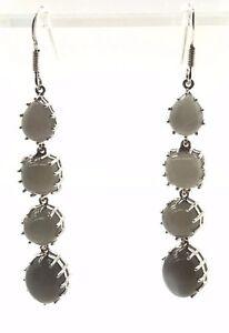 Cats Eye Drop Dangle Earrings White 925 Silver plated  NEW