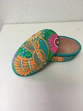 "HAND PAINTED  CERAMIC JEWELRY BOX , ONE OF A KIND , OVAL , MEXICO , 5"" X 3"" ,#02"