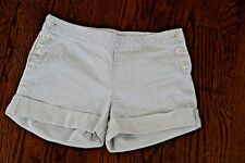 Women's Gap White/Blue Striped Shorts With Button Detail