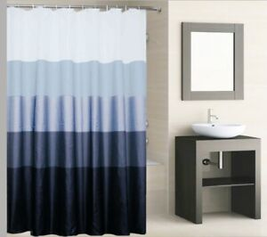 Polyester Striped Shower Curtain 180 x 180cm Incl Hooks, Machine Washable