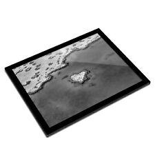 A3 Glass Frame BW - Heart Reef Australia Nature  #35806