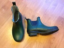 Ladies low cut wellington boots in dark green & navy, size 5