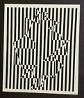 """Victor Vasarely """"Ujjain"""" Mounted b/w Offset Lithograph 1971"""