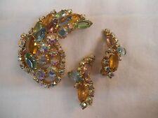 Vintage Open Back AB Rhinestone-Pastel Green,Yellow,Purple-BROOCH,EARRINGS -