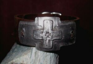 Leather & Cross Overlay Cuff Bracelet Brown Leather Custom Sized For You $195