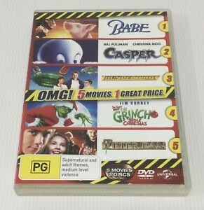 5 X Movies Babe Casper Thunderbirds How The Grinch Stole Christmas Peter Pan DVD