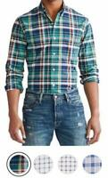 Men's Polo Ralph Lauren Long Sleeve Slim Fit Button Down Oxford Plaid Shirt