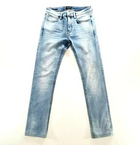 TAROCASH Mens Light Blue Straight Leg Slim Fit Denim Jeans Size 30
