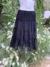 STUDIO M Petite Black Lace Skirt Sparkles Sz MP