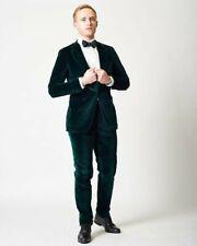Hombre Terciopelo Verde Trajes de Diseño Boda Novios Informal (Abrigo+Pantalón)