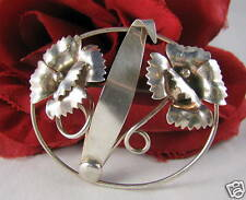 Sterling Silver Flowers Brooch Pin CAT RESCUE