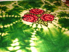Rare Antique 1800's Horse Wool Buggy Lap Robe Blanket ~ green with flower design